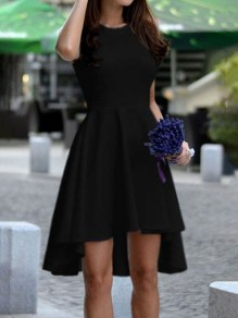 Black Irregular Round Neck Sleeveless High-Low Fashion Prom A-line Midi Dress