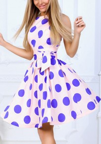 Pink Blue Polka Dot Sashes Round Neck Sleeveless Sweet Homecoming Party Prom Mini Dress