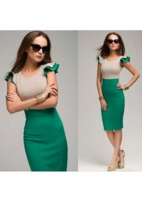 Green Patchwork Cascading Ruffle Round Neck Fashion Midi Dress
