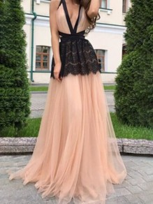 Pink Lace Grenadine Deep V-neck High Waisted Bridesmaid Elegant Graduation Party Maxi Dress