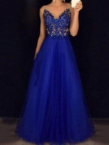 Royal Blue Grenadine Beaded Beading Draped Backless V-neck Banquet Elegant Prom Party Maxi Dress