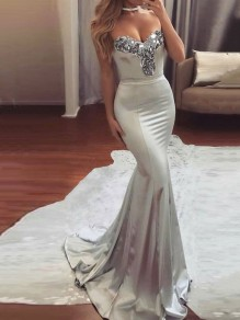 Silver Patchwork Sequin Off Shoulder Backless Mermaid Bodycon Elegant Prom Party Maxi Dress