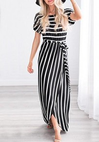 Black Striped Cross Sashes Slit Irregular High Waisted Country Casual Party Maxi Dress