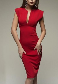 Red Deep V-neck Slit Bodycon Sleeveless Fashion Office Worker/Daily Elegant Midi Dress