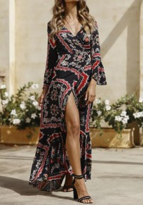 Black Floral Pattern Irregular Ruffle Deep V-neck Flare Sleeve Flowy Bohemian Maxi Dress