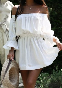 White Draped Off Shoulder Long Sleeve Fashion Casual Ladies Mini Dress