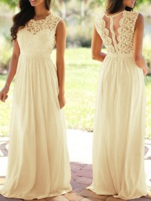 Beige Lace Draped High Waisted Cut Out Draped Elegant Party Maxi Dress