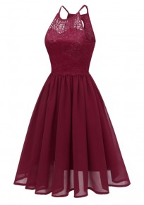 Wine Red Patchwork Condole Belt Lace Cut Out Round Neck Sweet Midi Dress