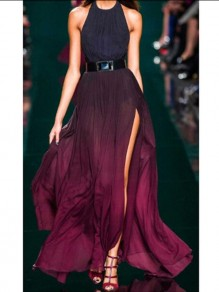 Red Belt Halter Neck Side Slit Party Maxi Dress