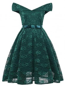 Green Patchwork Lace Bow Off Shoulder Elegant Midi Dress