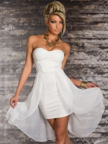 White Patchwork Solid Color Chiffon Bandeau Irregular Off Shoulder Bodysuit Homecoming Party Midi Dress