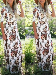White Floral Round Neck Elbow Sleeve Bohemian Maxi Dress