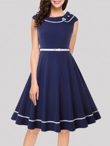 Navy Blue Belt Pleated Turndown Collar Vintage Midi Dress