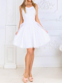 White Patchwork Grenadine High Waisted Fluffy Skater Adult Tutu Homecoming Teens Mini Dress