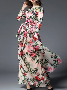 White Flowers Print Sashes Zipper Elegant Chiffon Maxi Dress