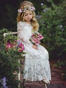 White Patchwork Lace Grenadine Bow Round Neck Fashion Children Maxi Dress