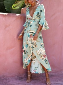 Green Floral Sashes Irregular Pleated Slit V-neck Elbow Sleeve Casual Maxi Dress