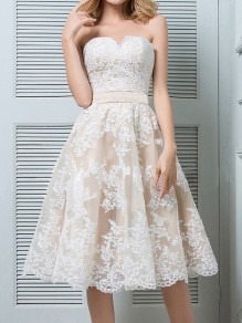 White Patchwork Lace Off Shoulder Pleated High Waisted Elegant Wedding Prom Homecoming Party Midi Dress