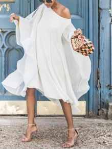 White Cut Out Irregular Ruffle One-shoulder Flare Sleeve Flowy Bohemian Midi Dress