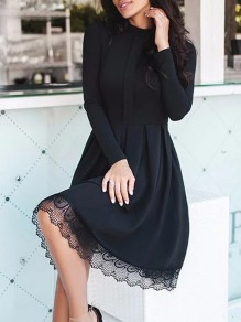 Black Patchwork Lace Long Sleeve Casual Midi Dress