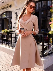 Apricot Plain Draped Belt V-neck Fashion Midi Dress