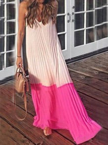 Pink Spaghetti Strap V-neck Ruched Draped Flowy Beachwear Country Bohemian Party Maxi Dress