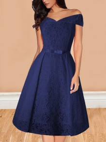 Navy Blue Floral Lace Belt Off Shoulder Backless Adult Tutu Homecoming Midi Dress