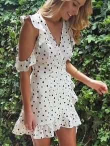White Polka Dot Ruffle Bow Sweet Going out Mini Dress