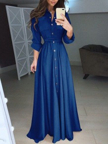 Blue Single Breasted Draped Pockets High Waisted Ladies Elegant Party Maxi Dress