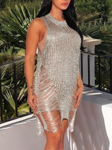 Silver Cut Out Slit Tassel Irregular Sheer Clubwear Festival Mini Dress