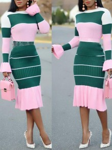Pink Striped Print Ruffle Mermaid Round Neck Flare Sleeve Elegant Prom Party Maxi Dress