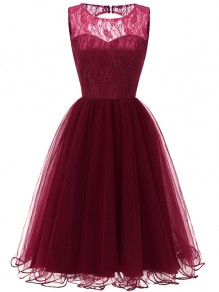 Wine Red Patchwork Lace Grenadine Open Back Sleeveless Party Mini Dress