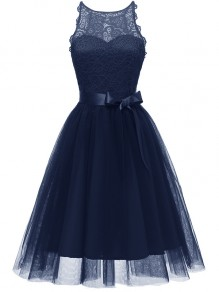 Navy Blue Patchwork Lace Grenadine Bow Sleeveless Party Mini Dress