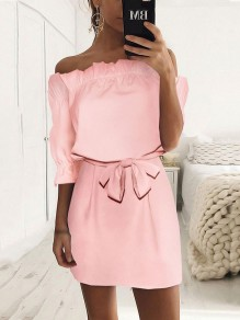 Pink Ruffle Bow Sashes Off Shoulder Backless 3/4 Length Sleeve Sweet Mini Dress