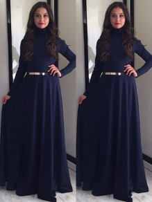 Dark Blue Draped Long Sleeve Band Collar Party Maxi Dress