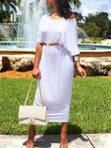 White Draped Round Neck Short Sleeve Casual Going out Maxi Dress