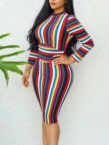 Red Rainbow Striped Backless Bodycon Round Neck Long Sleeve Elegant Homecoming Party Midi Dress