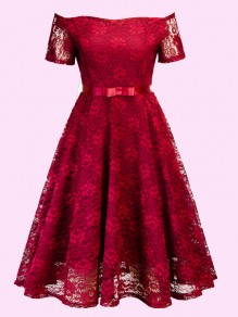 Burgundy Off Shoulder Lace Pleated High Waisted Tutu Sweet Homecoming Party Midi Dress
