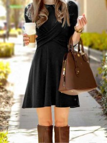 Black Comfy Cross Elbow Sleeve Casual Mini Ruched Skater Dress