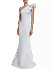 White Patchwork Ruffle One Shoulder Sleeveless Party Maxi Dress