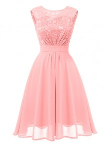 Pink Patchwork Lace Cut Out Bow Fashion Midi Dress