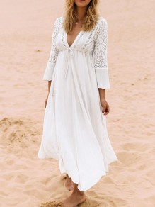 White Patchwork Lace Gypsy Drawstring Draped V-neck Beach Boho Maxi Dress