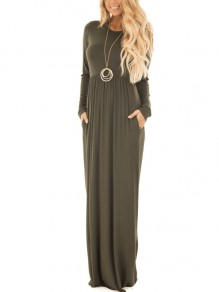 Army Green Pleated Pockets Plus Size Comfy Long Sleeve Casual Elegant Classic Maxi Dress