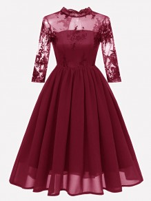 Wine Red Patchwork Lace Embroidery Band Collar Long Sleeve Midi Dress