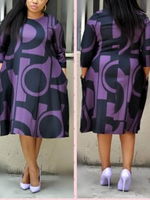 Purple Geometric Pockets Pleated Round Neck Homecoming Party Maxi Dress