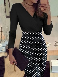 Black Polka Dot Print Long Sleeve V-neck Sweet Going out Mini Dress
