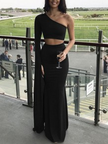 Black Asymmetric Shoulder Cut Out Backless Two Piece Mermaid Prom Evening Party Maxi Dress