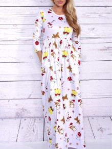 White Floral Print Pockets Round Neck Long Sleeve Casual Maxi Dress