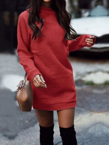 Red Round Neck Long Sleeve Casual Mini Dress