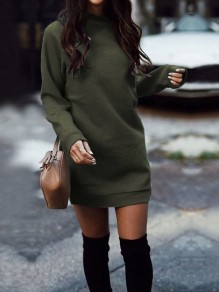 Army Green Round Neck Long Sleeve Casual Mini Dress